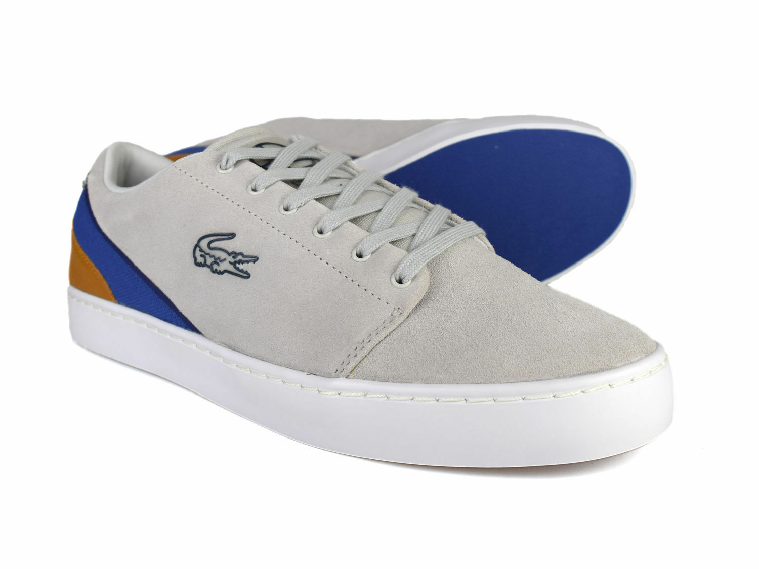 Lacoste Court Legacy grau Leather and Canvas Trainers Free UK P&P