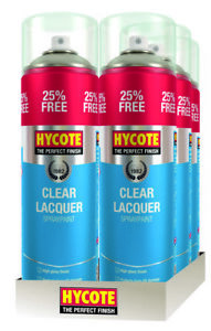 6x-Hycote-XUK0232-Clear-Lacquer-Spray-Paint-400ml-Aerosol-Fast-Dry-High-Gloss