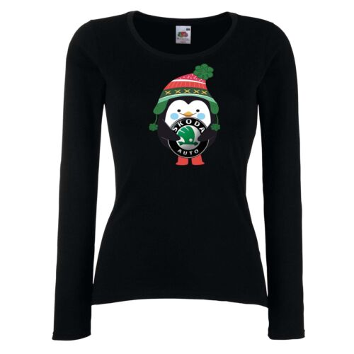 DAMEN//LADY T-SHIRT SKODA Penguin Winter Gift Geschenk Weihnachten Long
