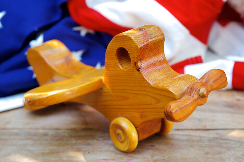 Vintage Hand Made Wooden Folk Art Toy Airplane