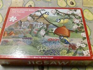 OTTER-House-1000-Piece-Jigsaw-Puzzle-bleu-Mesanges-et-fleurs