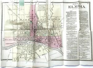 ELMIRA-NEW-YORK-1869-City-Map-Hand-Colored-F-W-Beers