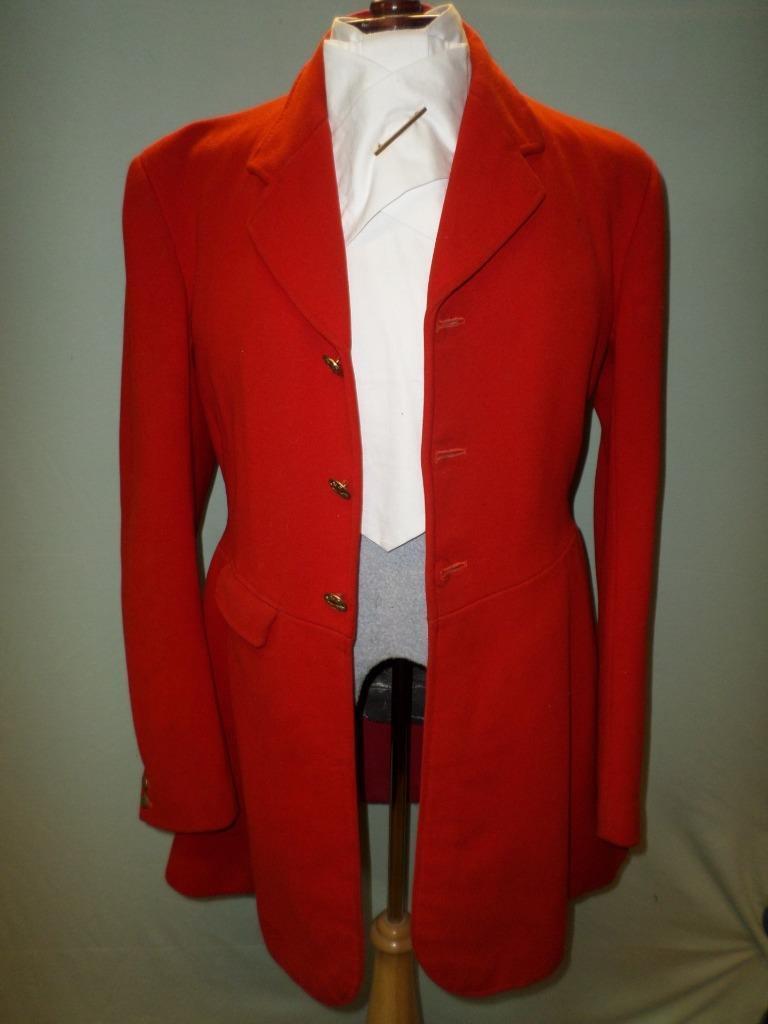 Vintage red hunt coat-Capt.M. Egerton 1957-Brass York&Ainsty Hunt buttons- 36