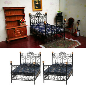 MagiDeal-2x-1-12-Metal-Double-Bed-Dollhouse-Miniature-Furniture-Bedroom