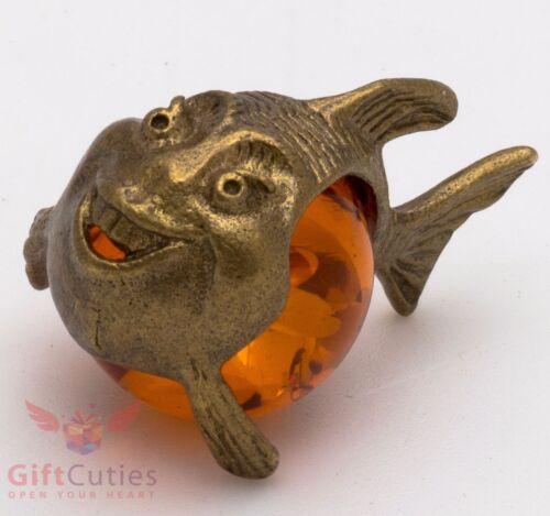 Russian Solid Brass Amber Figurine of Joyful Belly Fish Totem talisman IronWork