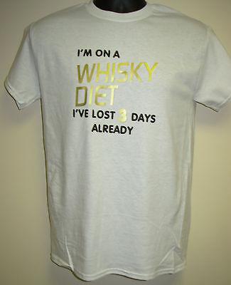 "Lost 3 Days Already/"" Christmas//Birthday Gift Men/'s Slogan T-Shirt /""WHISKY DIET"