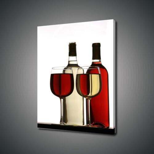 RED WHITE WINE GLASSES MODERN KITCHEN DESIGN CANVAS PRINT WALL ART PICTURE PHOTO