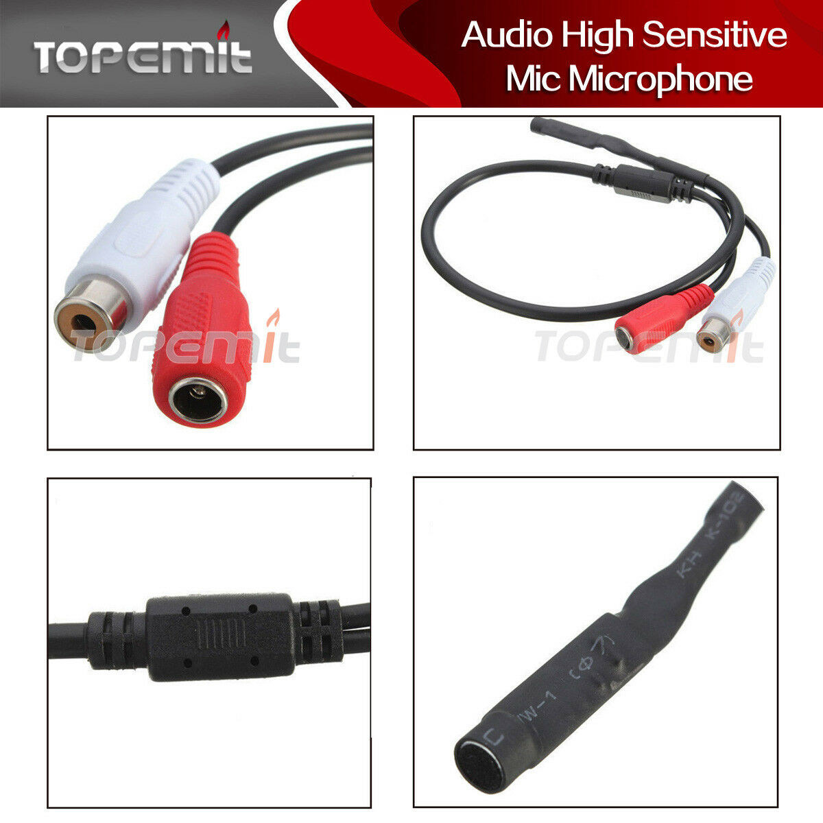 5 Pack Audio High Sensitive Mic Microphone for CCTV Security Camera DVR System