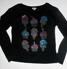 Juicy Couture Girls Size XS Black Long Sleeve Top Ice Cream & Cup Cake Design On