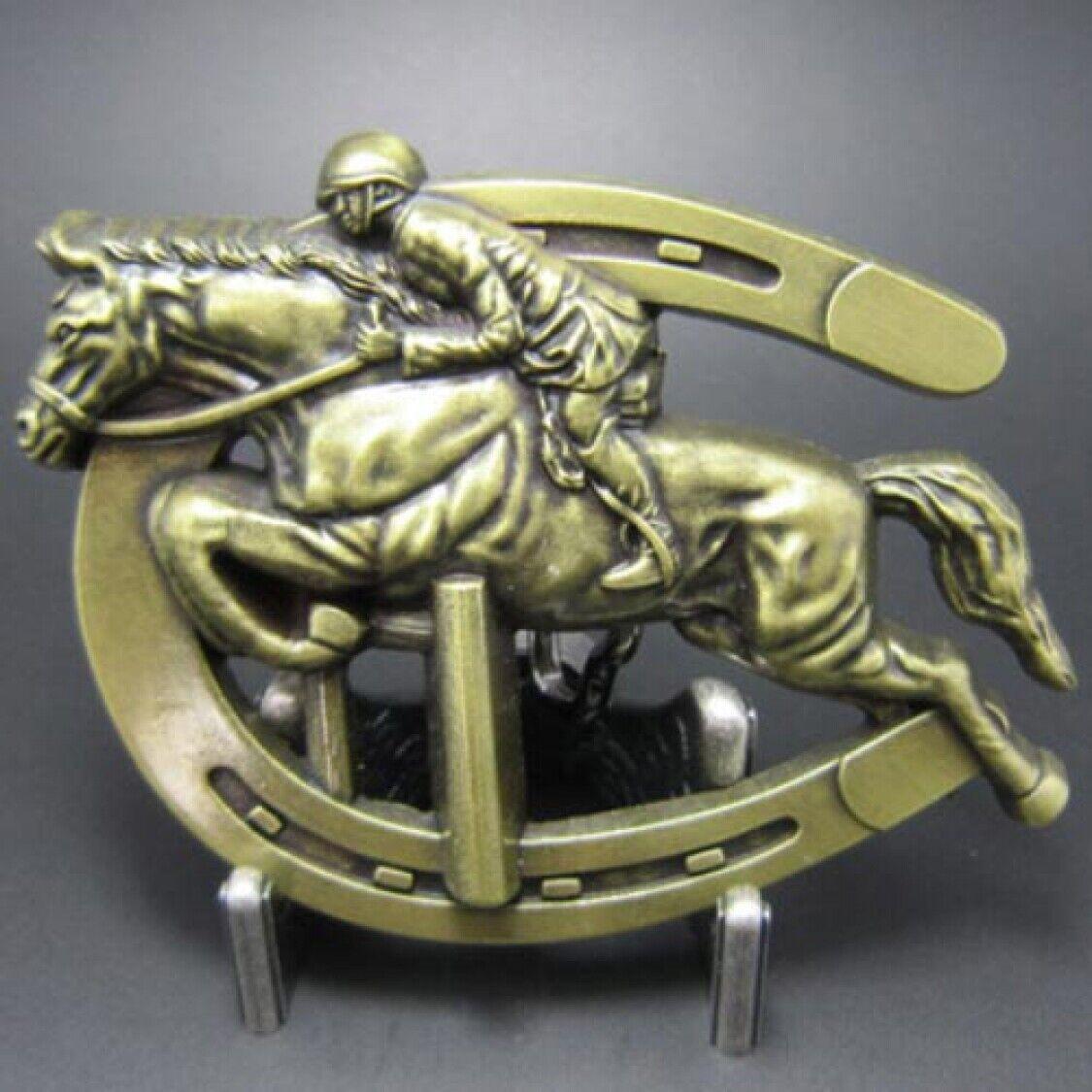 Buckle Pferd mit Reiter, Jockey, Springreiten, Gürtelschnalle