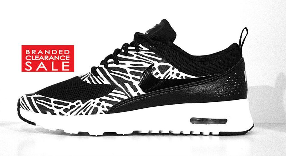 Nouveau Entièrement neuf dans sa boîte Femmes NIKE BLANC Air Max Thea Print Noir Blanc Lava Taille 4 5 6 7 Chaussures de sport pour hommes et femmes