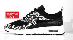 NUOVO con scatola nuovo bianco delle donne Nike Air Max Thea Stampa Lava Bianca Nera Taglia 4 5 6 7uk