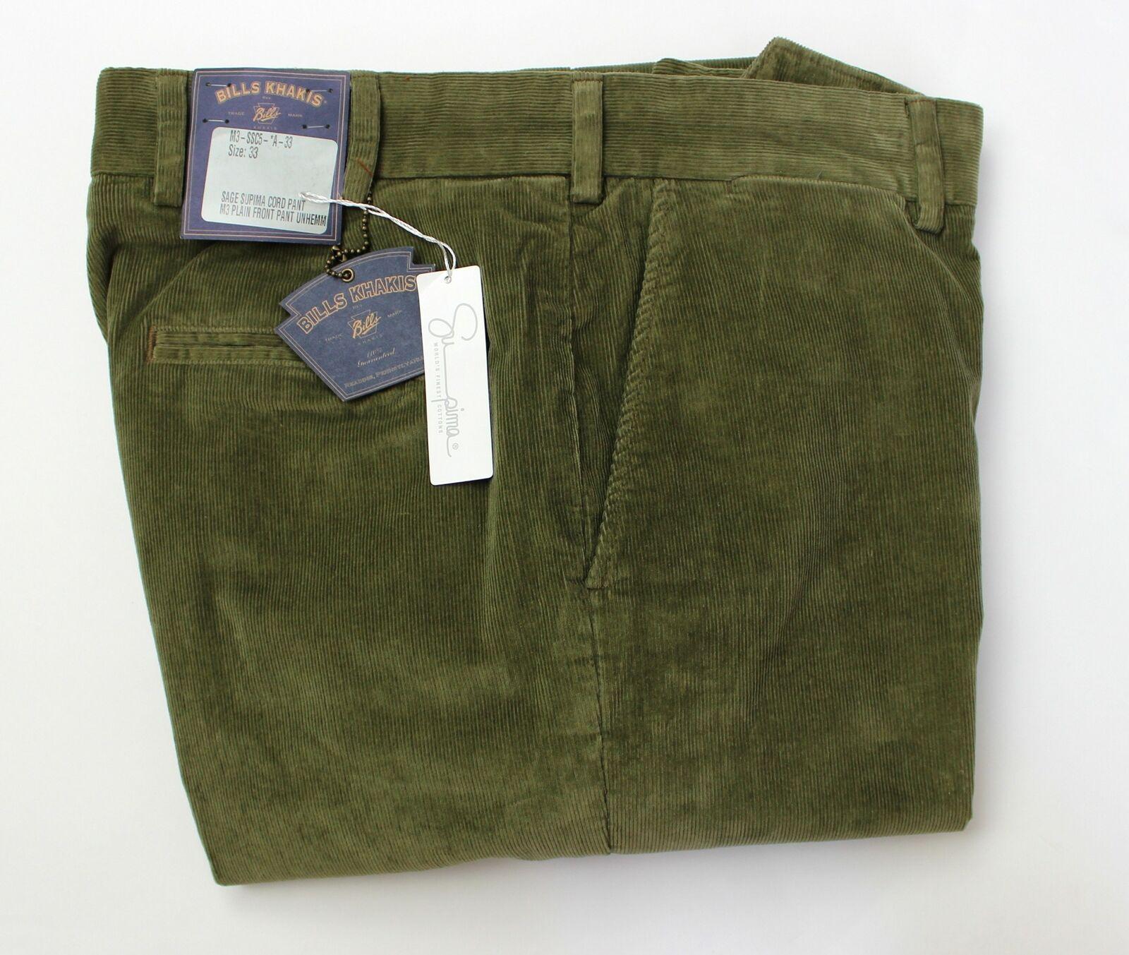 BRAND NEW-Bills Khakis M3 Sage Green 15 Wale Corduroy Pants-33-MSRP