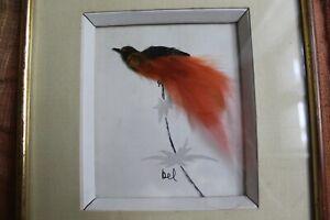 Cadre-decoratif-034-L-039-oiseau-Rouge-034-Technique-mixte-Ecole-francaise-XXeme-de-Rel