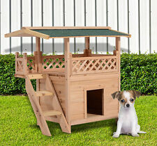 Wooden Pet House Cat Room Dog Puppy Large Kennel Indoor Outdoor Shelter w/ Roof