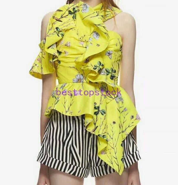 New Fashion Yellow Leigh Portrait Floral Blouse Slim Top Free Self Delivery NEW