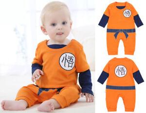 Image is loading Dragonball-Z-Son-Goku-Baby-Bodysuit-Halloween-Cosplay-  sc 1 st  eBay & Dragonball Z Son Goku Baby Bodysuit Halloween Cosplay Costume Dress ...
