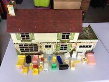Vintage Marx Toy 2 Story Tin Doll House & Original Rare Accessories Disney Room