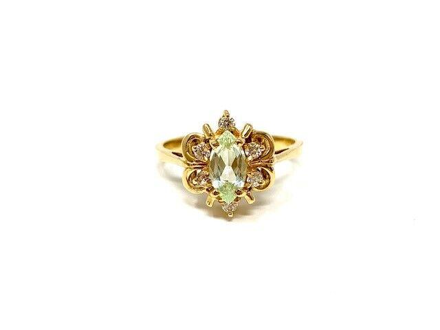 ladies new 10k yellow gold synthetic green topaz/diamond ...