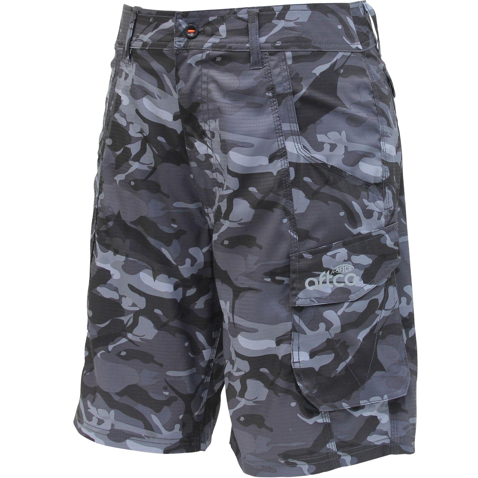 Aftco M82 Táctica Pesca Pantalones Cortos - 21  Largoitud-Negro Camo-Envío Gratuito