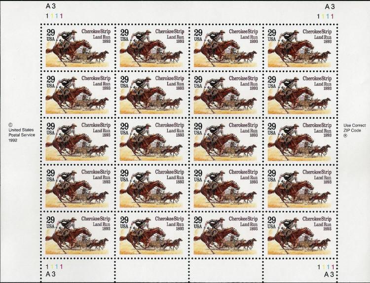 1993 29c Cherokee Strip Land Run, Oklahoma, Sheet of 20