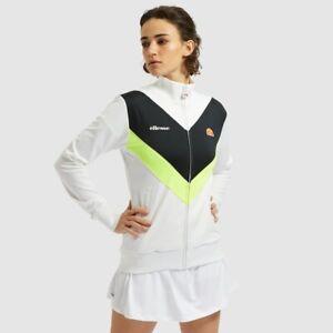 Ellesse-Womens-Track-Top-Retro-Vincitrice-White-Black-Chevron-Full-Zip
