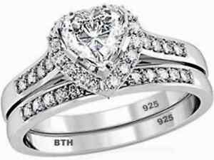 Details About 925 Sterling Silver Ladies Luxury Heart Wedding Engagement Bridal Ring Set