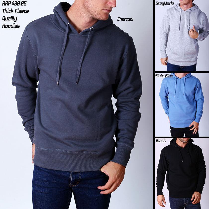 Mens Designer Quality Plain Fleece Hoody - Basic Hoodies & Jumper