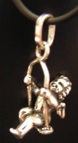 Engel Anhänger 925//Sterling Silber ca 2,8 cm auf Wippe