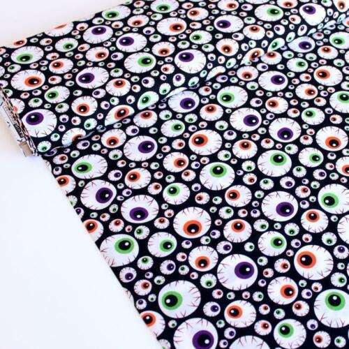 David Textile Fabric Halloween Eyeballs Black HALF METRE Eye Ball Spooky