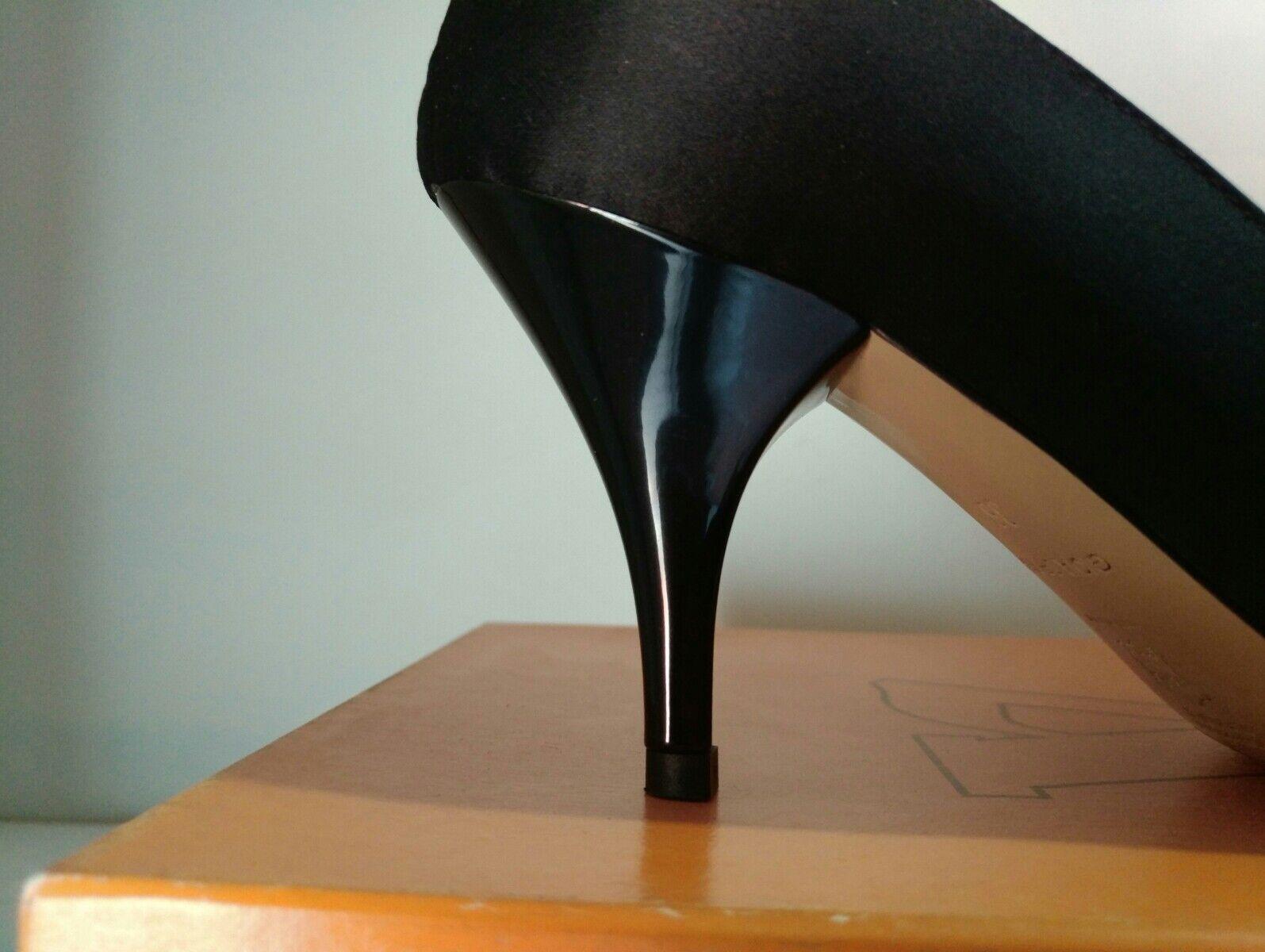 VALLEGrün Decolté Spuntato damen damen damen Elegante in Raso Tessuto schwarz N° 36 Nuovo f28fd9