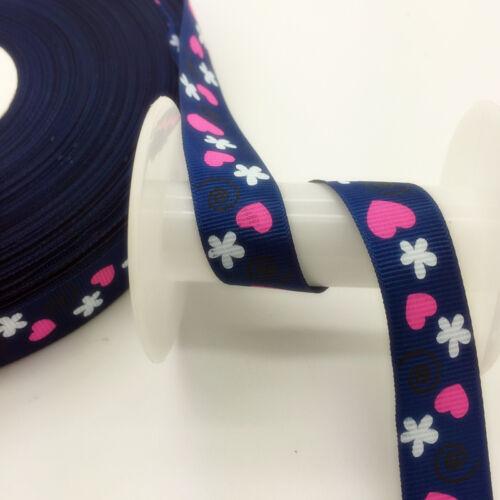 Wide Sewing Printed Grosgrain Ribbon Hair Bow Sewing SKT64 20mm DIY 5 Yards 3//4/'
