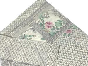 Thomaston-Bedding-Vintage-Percale-Pillowcase-1970s-Gray-Cream-Pink-Floral-Retro