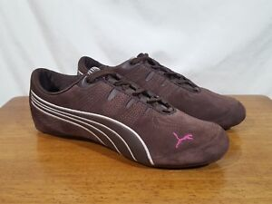 plus de photos af7e8 4c198 Details about Women's PUMA Sport Lifestyle Athletic Shoes Brown Suede  Leather Pink Logo - Sz 8