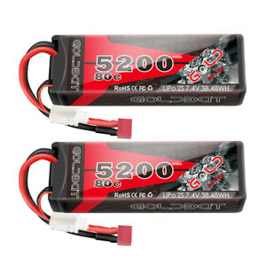 2X-80C-5200mAh-7-4V-RC-2S-Lipo-Battery-Deans-Plug-Hard-case-For-Car-Truck-Buggy