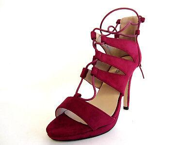 R4B Anne Michelle Ladies F1R0550 Burgundy Microfibre High Lace Up Sandal