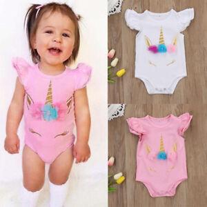 9de1ec2934b2 Details about Cute Unicorn Infant Baby Girls Romper Bodysuit Jumpsuit  Outfit Sunsuit Clothes W