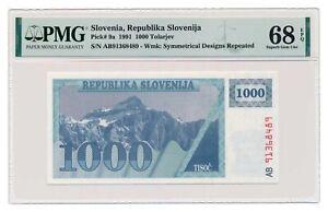 SLOVENIA-banknote-1000-Tolarjev-1991-PMG-MS-68-Superb-Gem-Uncirculated