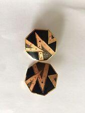 Boucle D'oreille vintage Bijou Ancien Email Cloisonné  Earring Clips