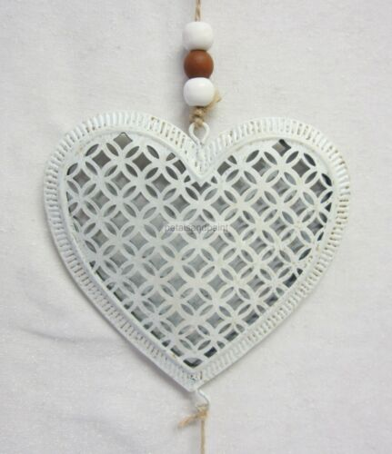 Rustic French Style Triple Heart Metal Mobile Hanging Ornament in Cream BR746