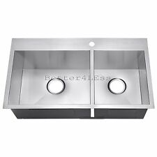 "32"" Handmade Topmount Drop In Double Bowl Basin Stainless Steel Kitchen Sink"