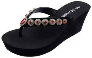 bce41b7ae AIMONE Women s Olina Red Crystal High Heel Flip Flops Thong Sandals ...
