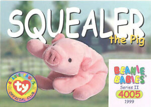 195b58b813c TY Beanie Babies BBOC Card - Series 2 Common - SQUEALER the Pig - NM ...