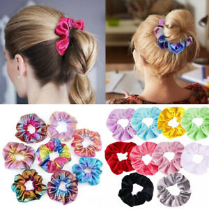 5-20Pcs-Shiny-Metallic-Hair-Scrunchies-Ponytail-Holder-Elastic-Ties-Bands-Girl