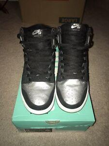 free shipping bbcfc 603b0 Details about Nike Dunk High Pro SB TIN MAN Sz 12 Black Silver Ice Oakland  Raiders Supreme