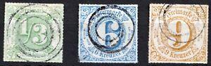 Altdeutschland-1865-3-Stueck-Thurn-und-Taxis-Briefmarken