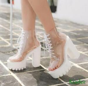 Womens-Transparent-Chunky-High-Heels-Clear-Ankle-Boots-Lace-Up-Platform-Shoes-sz