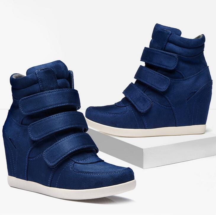 Women High Hidden Wedge Heels Suede Leather High Top Runing Boots Sneakers Ycart