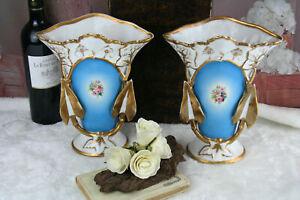 PAIR french vieux paris porcelain Vases floral decor louis-philippe cornet 1900
