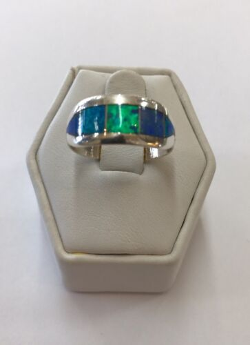 Native American Sterling Silver Navajo Handmade Blue Opal Ring Size 8